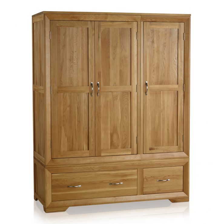 bevel natural solid oak triple wardrobe by oak furniture land. Black Bedroom Furniture Sets. Home Design Ideas