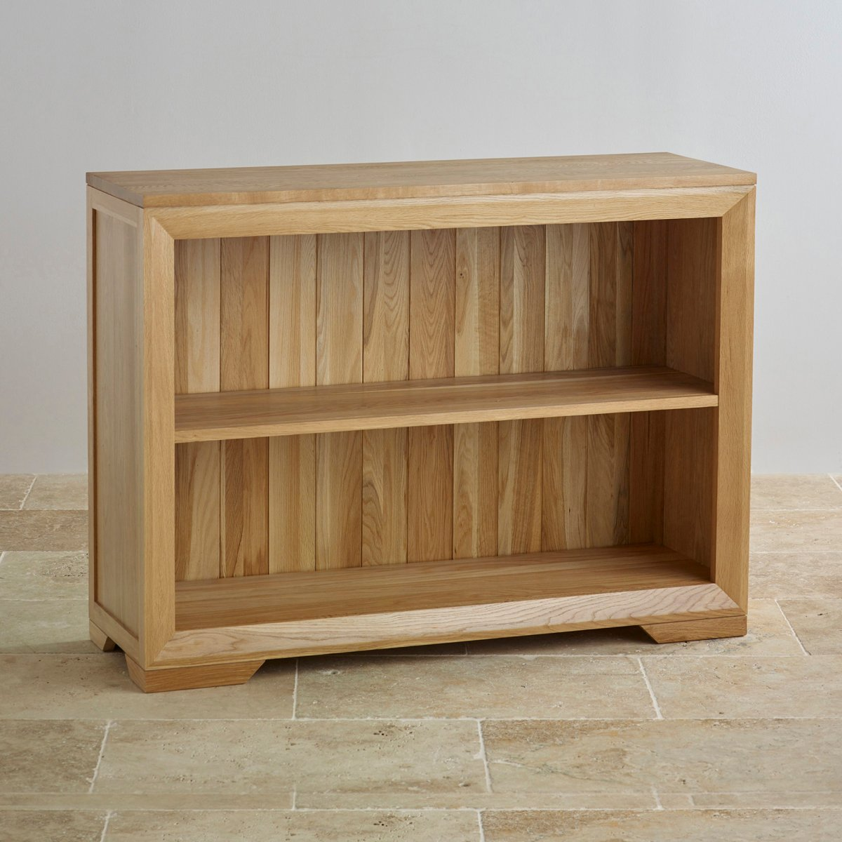 Bevel Small Bookcase In Natural Solid Oak Oak Furniture Land