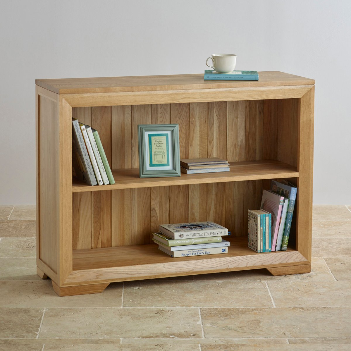 Bevel Small Bookcase In Natural Solid Oak