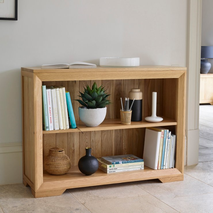 Bevel Natural Solid Oak Small Bookcase