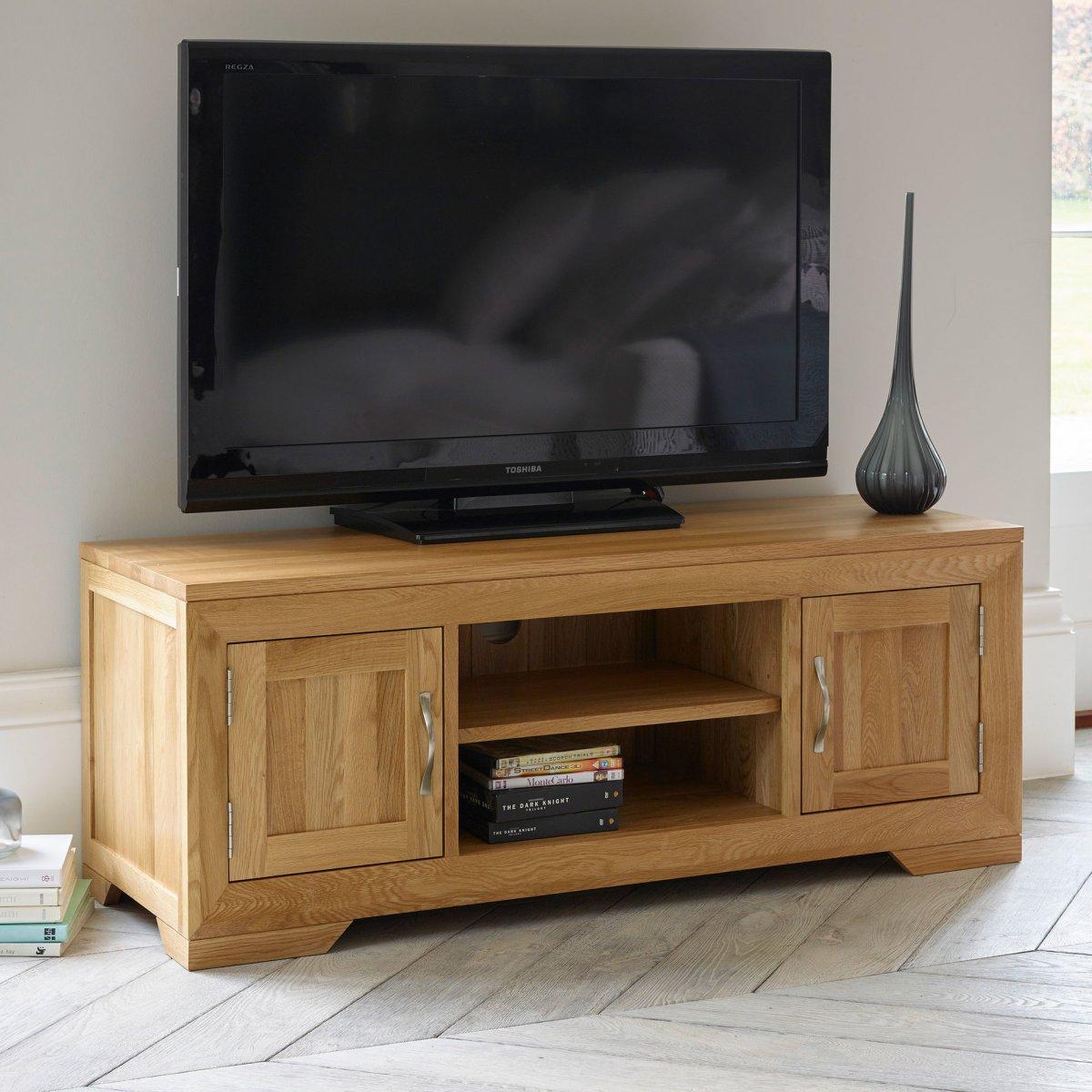 Bevel Natural Solid Oak Widescreen TV + DVD Cabinet