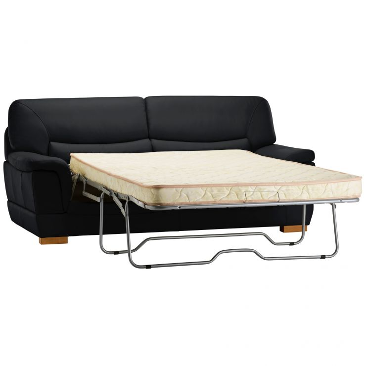 Brandon 3 Seater Sofa Bed with Deluxe Mattress - Black Leather