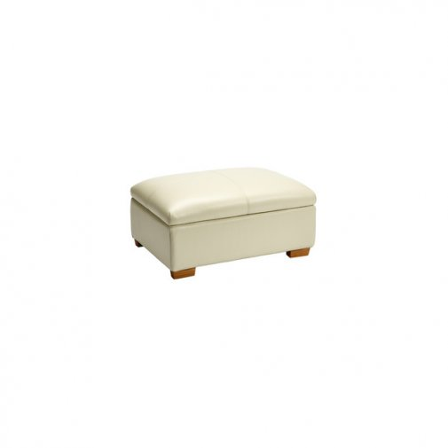Brandon Storage Footstool - Cream Leather