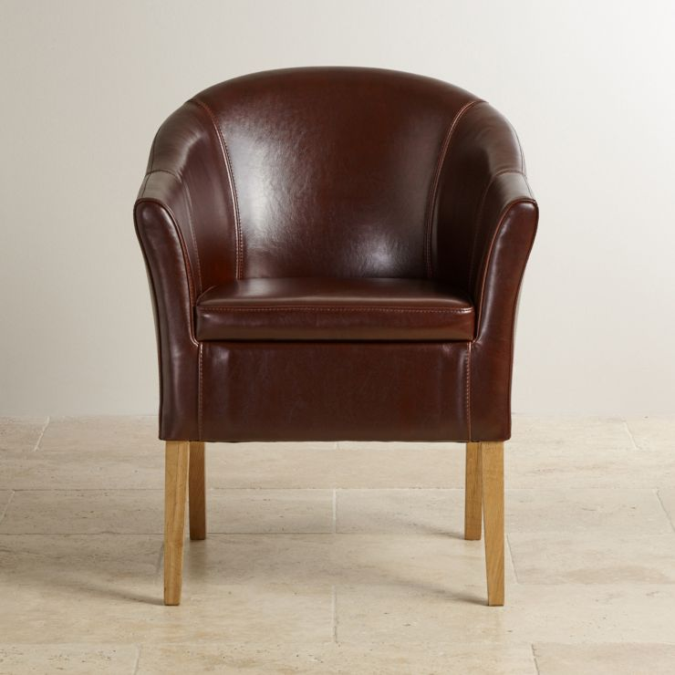 Astonishing Brown Leather Tub Chair With Solid Oak Legs Squirreltailoven Fun Painted Chair Ideas Images Squirreltailovenorg