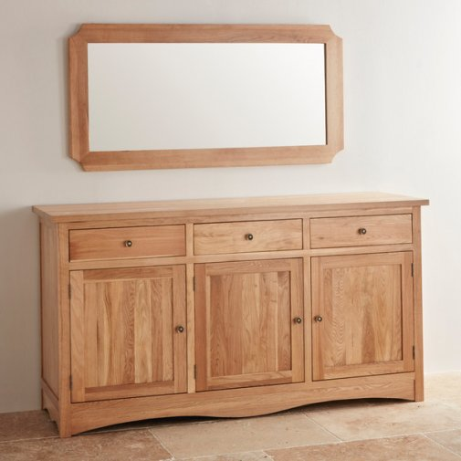 Cairo Natural Solid Oak 1200mm x 600mm Wall Mirror