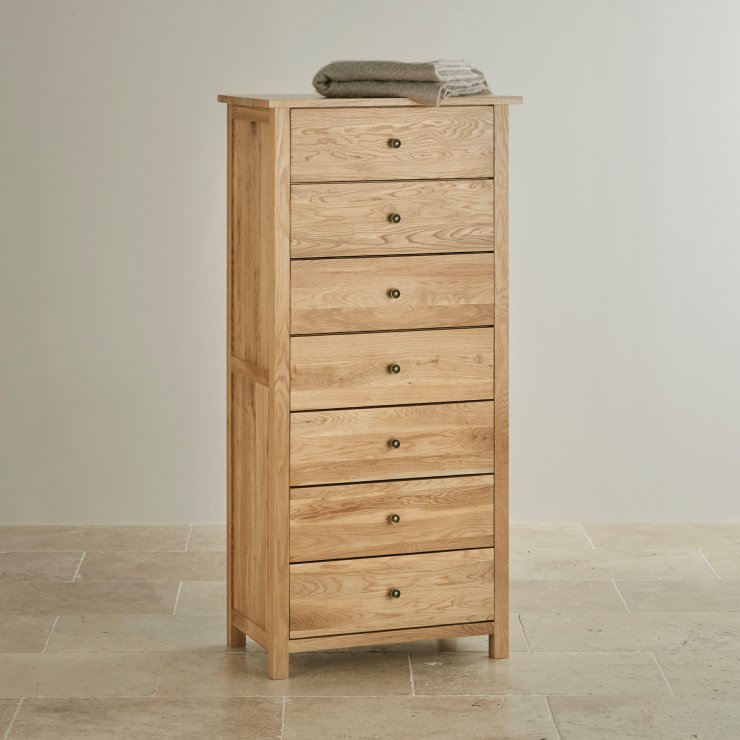 Cairo Natural Solid Oak 7 Drawer Tallboy