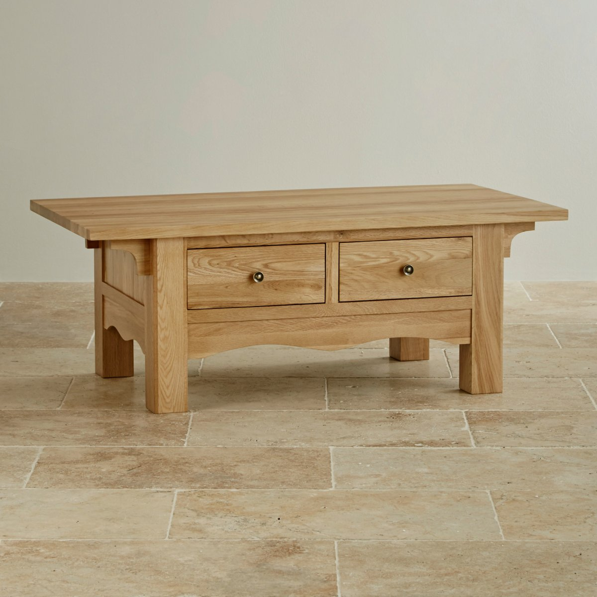 Cairo natural solid oak coffee table cairo natural solid oak 2 drawer coffee table geotapseo Image collections