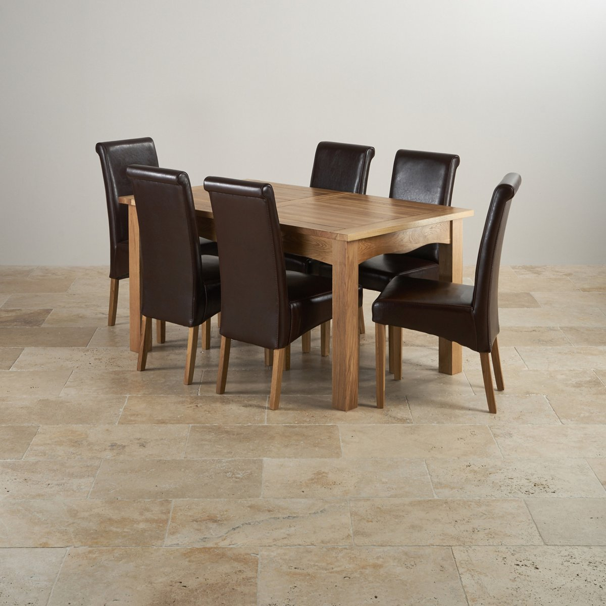 Provence Natural Solid Oak Dining Set: Cairo Extending Dining Set In Oak: Table + 6 Leather Chairs