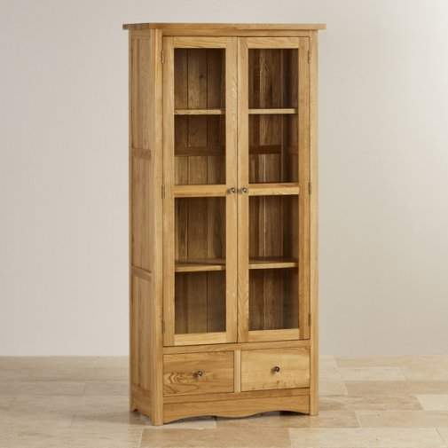Cairo Natural Solid Oak Glazed Display Cabinet