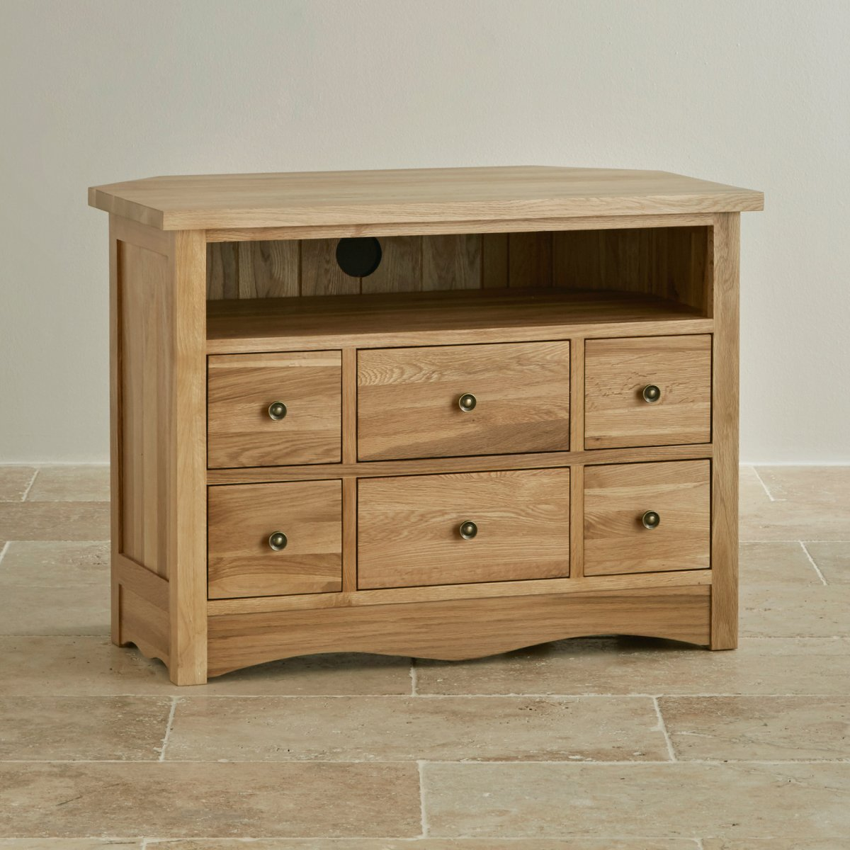 Cairo corner tv cabinet in natural solid oak oak for Solid oak furniture