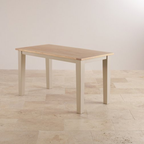 "Camborne Natural Oak and Rich Cream Painted 4ft 6"" x 2ft 6"" Dining Table"