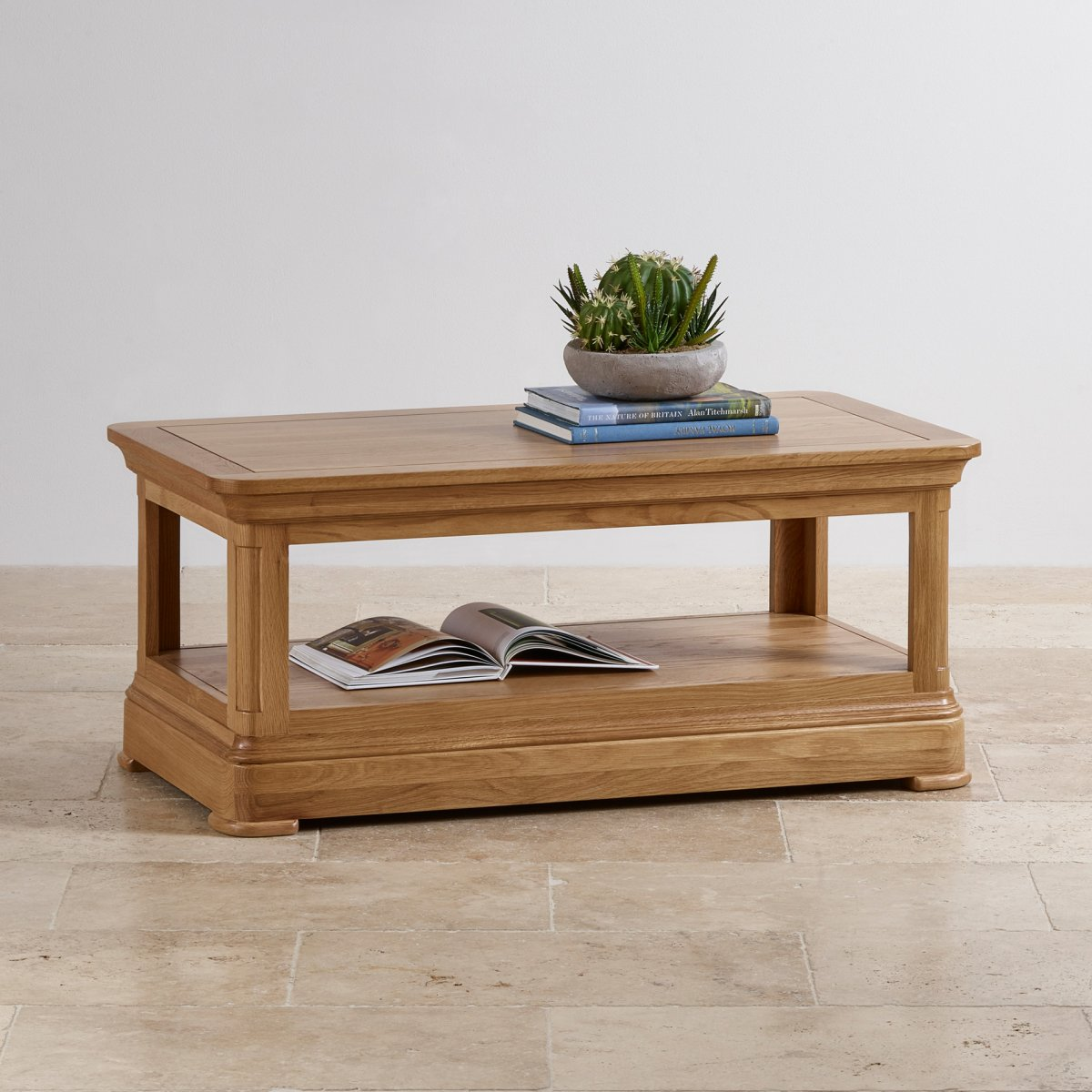 Canterbury coffee table natural solid oak oak for Oak furniture land