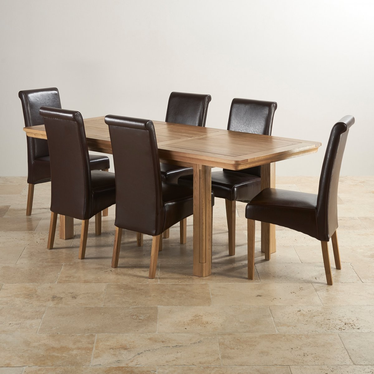 Provence Natural Solid Oak Dining Set: Canterbury Extending Dining Table + 6 Leather Chairs