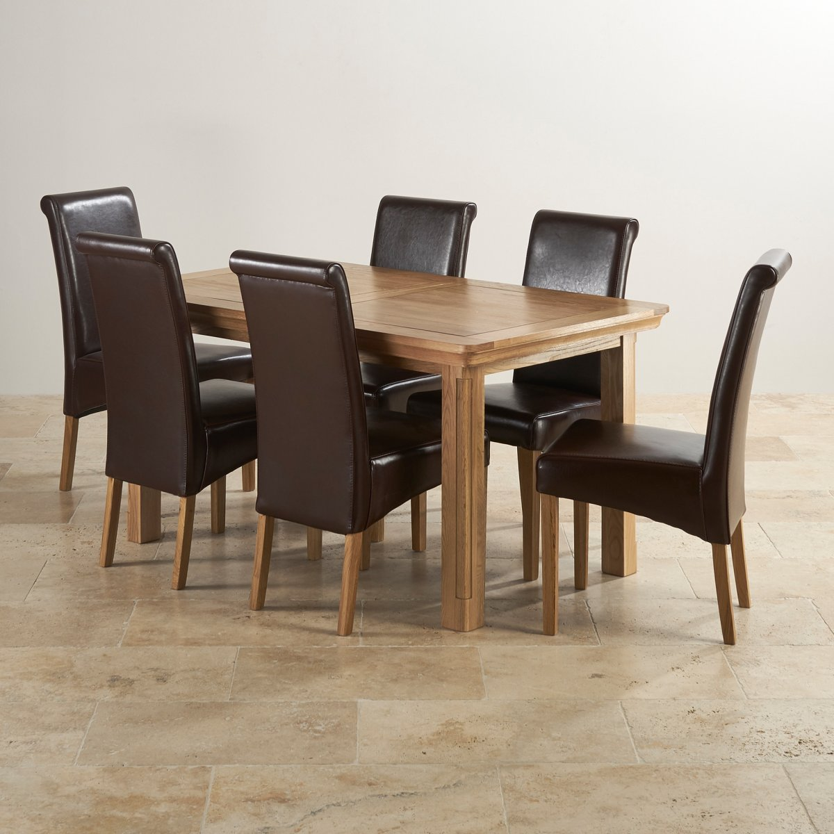 Canterbury extending dining table 6 leather chairs for Solid oak furniture