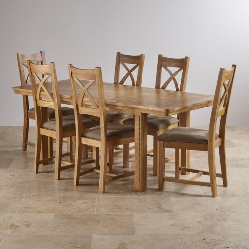 Canterbury Natural Solid Oak Dining Set   5ft Extending Table With 6 Cross  Back And Sage Part 98
