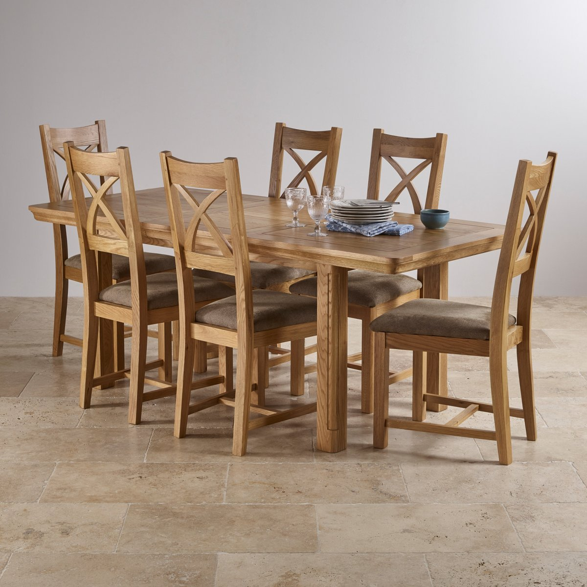 Canterbury extending dining set table 6 sage fabric chairs for Oak dining room table chairs
