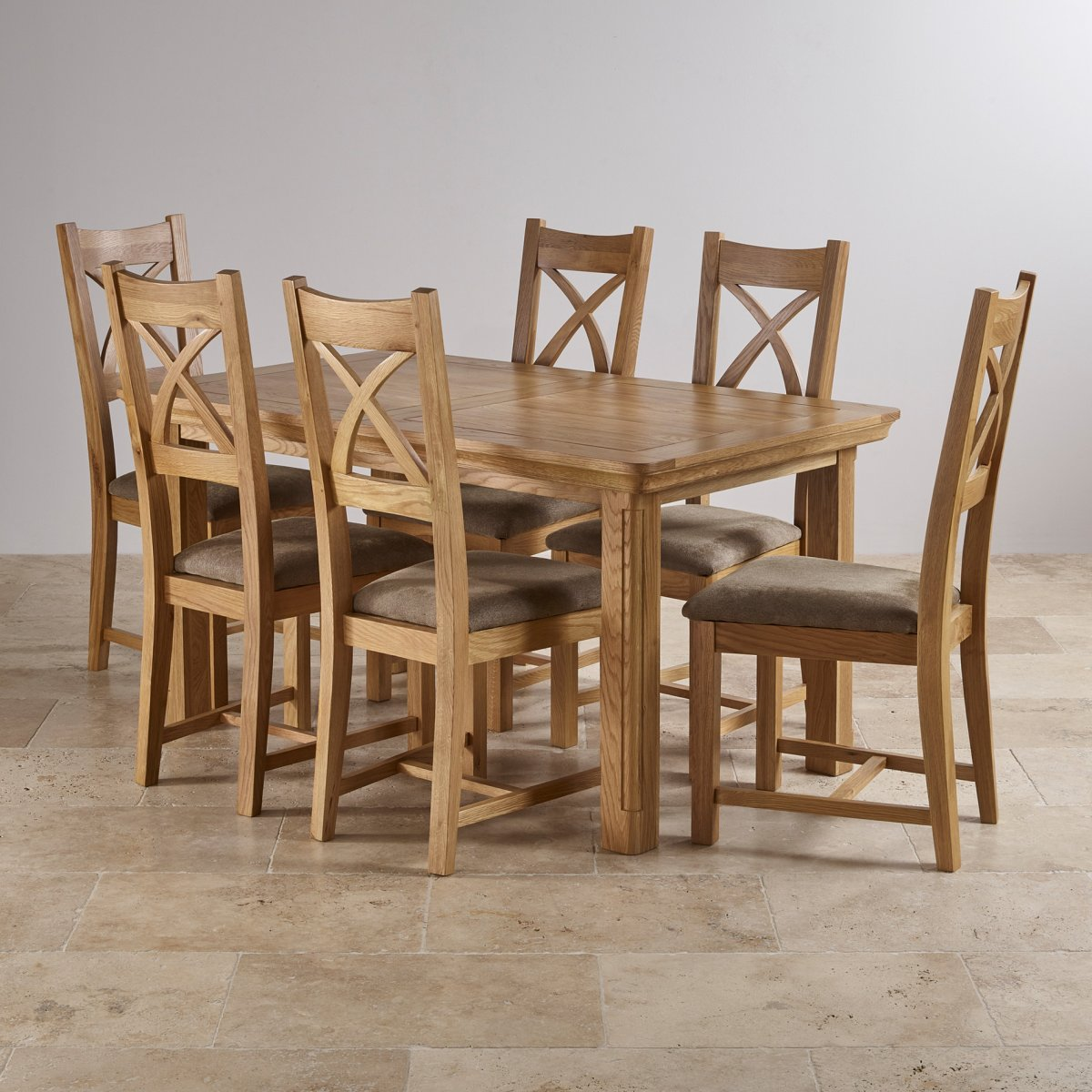 Canterbury Extending Dining Table 6 Leather Chairs: Canterbury Extending Dining Set: Table + 6 Sage Fabric Chairs