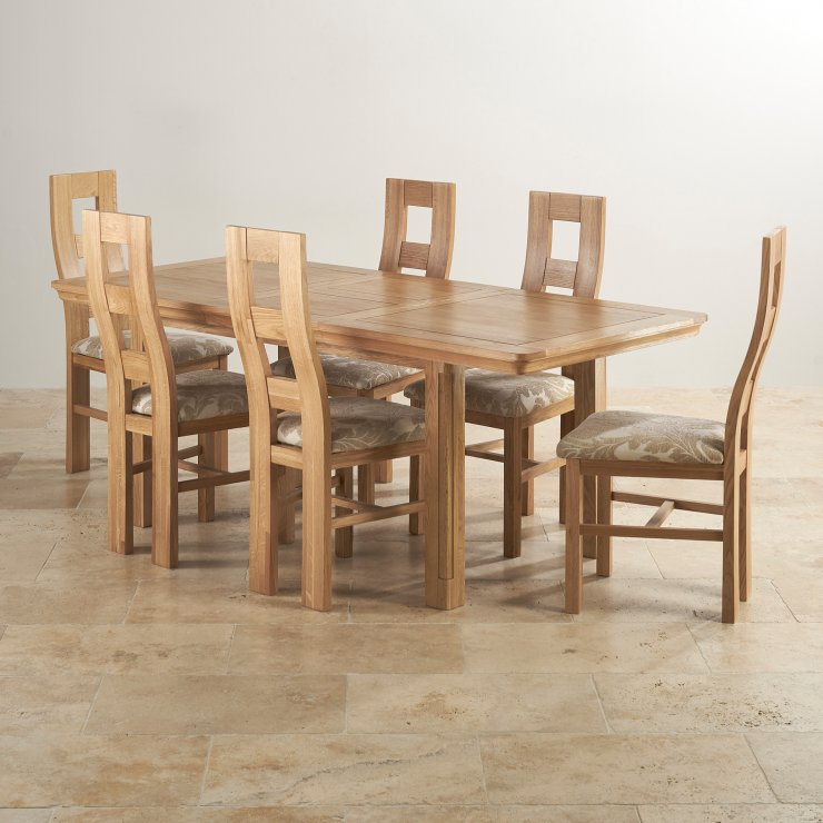 Provence Natural Solid Oak Dining Set: Canterbury Dining Table And 6 Chairs