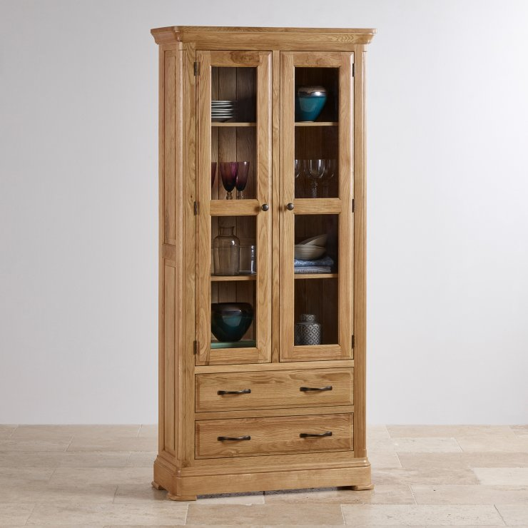 Canterbury Natural Solid Oak Glazed Display Cabinet