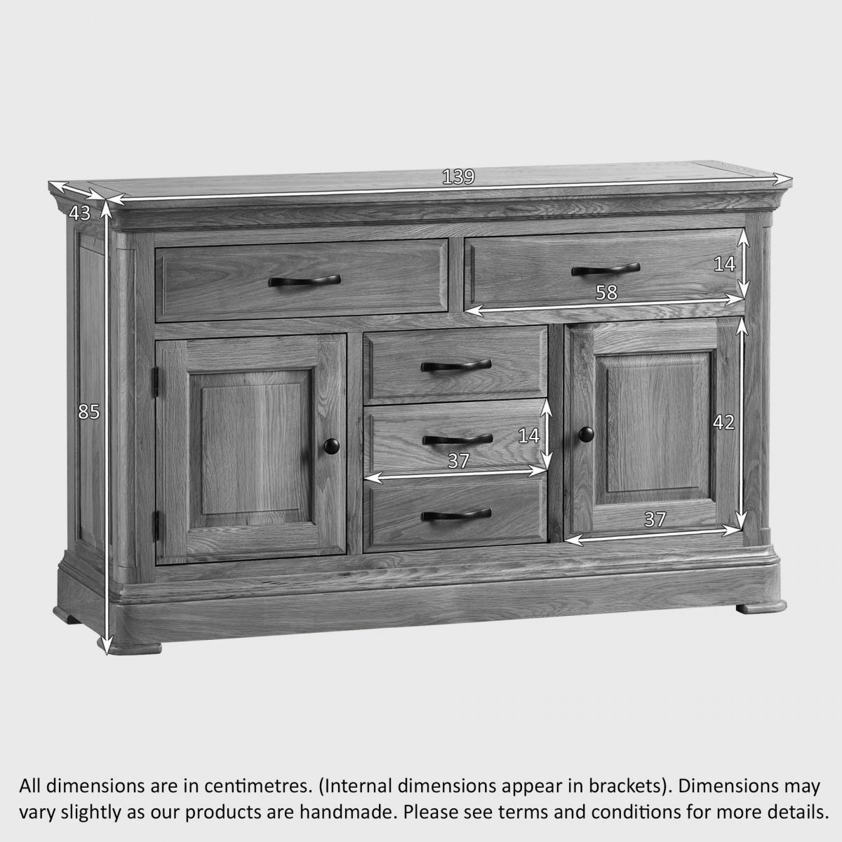 canterbury large sideboard solid oak oak furniture land. Black Bedroom Furniture Sets. Home Design Ideas