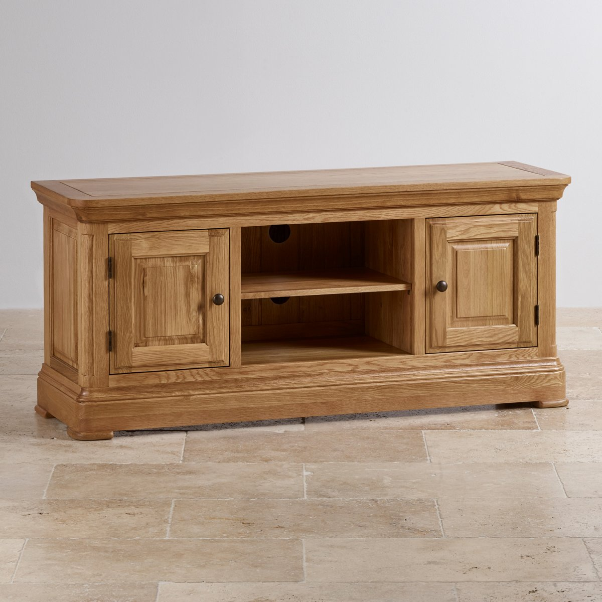 Canterbury large tv cabinet solid oak oak furniture land for Oak furniture land