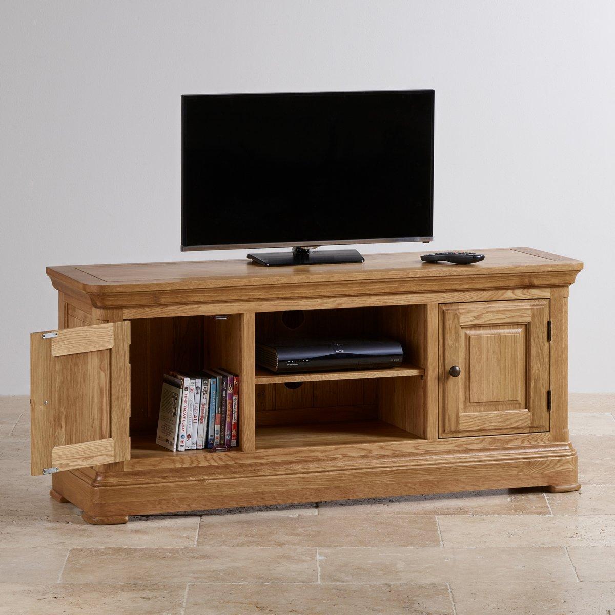 canterbury large tv cabinet solid oak oak furniture land. Black Bedroom Furniture Sets. Home Design Ideas