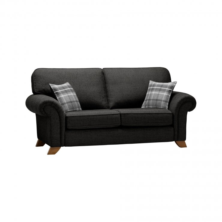Carolina 2 Seater High Back Sofa in Black with Grey Scatters
