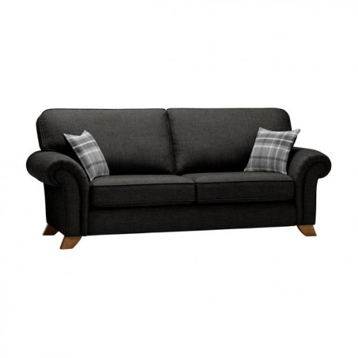 Carolina 3 Seater High Back Sofa in Black with Grey Scatters