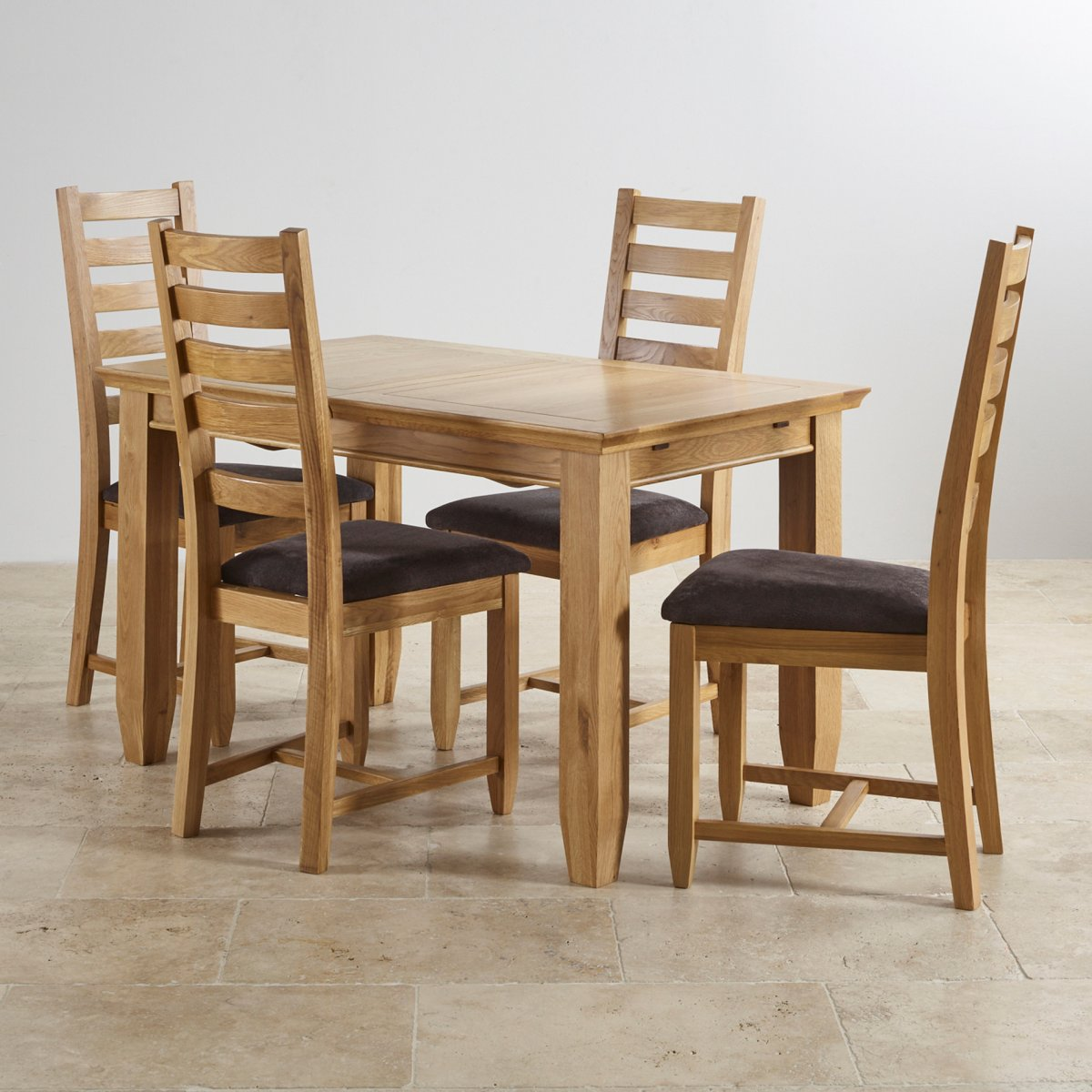 Classic Extending Dining Set In Oak: Dining Table + 6 Chairs