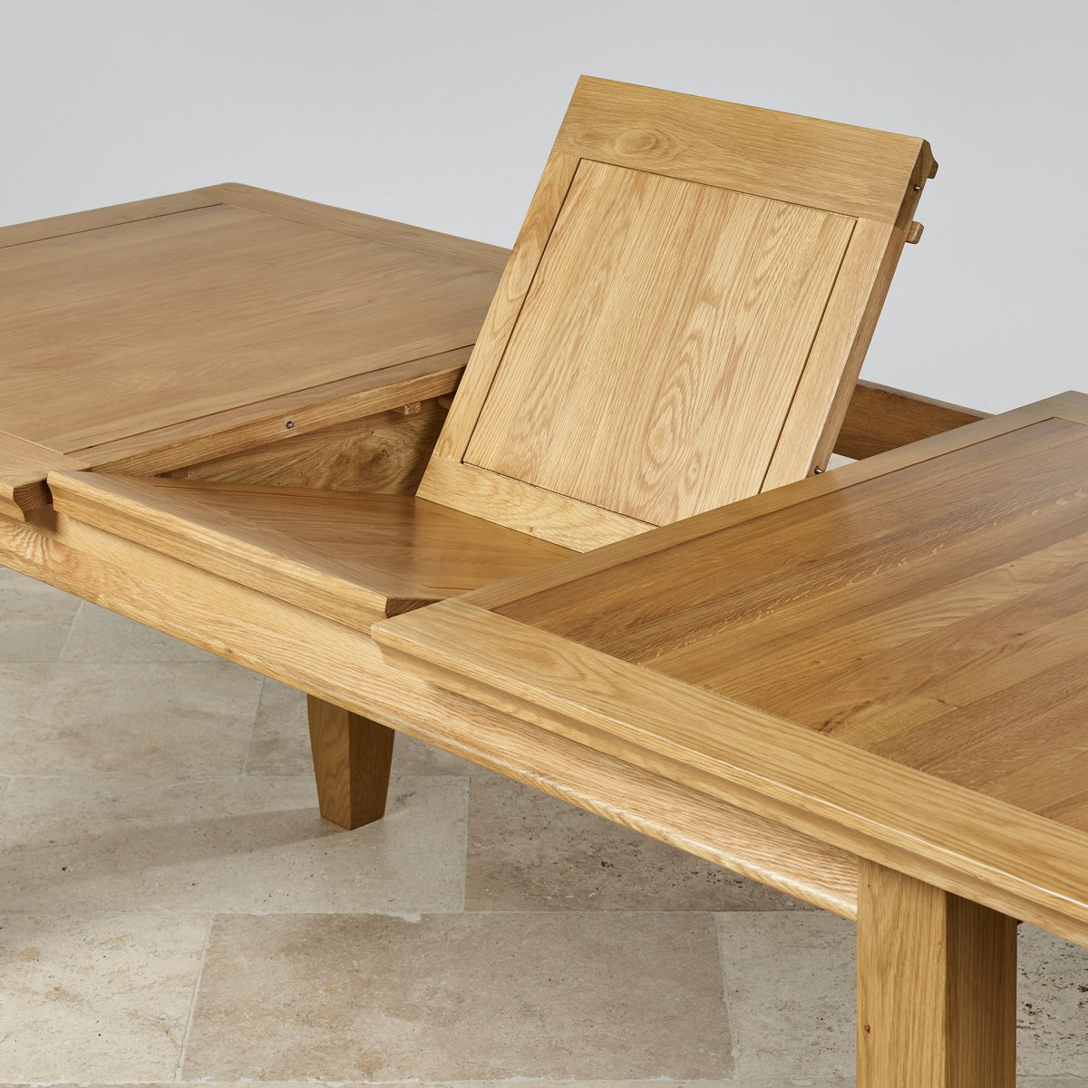 Classic Extending Dining Set In Real Oak Table 6 Fabric