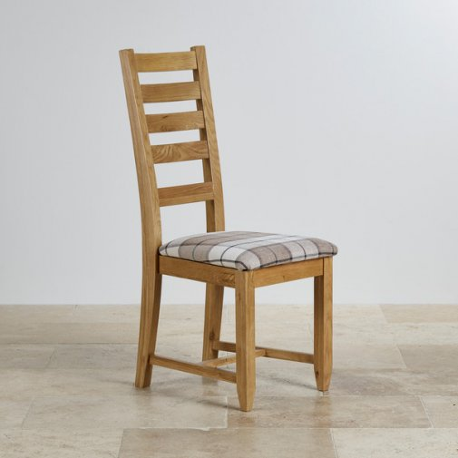 Classic Dining Chair in Natural Solid Oak - Check Brown Fabric Seat