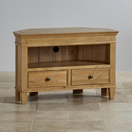 Classic Natural Solid Oak Corner TV Cabinet