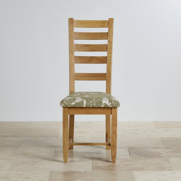 Classic Dining Chair in Natural Solid Oak - Patterned Sage Fabric Seat