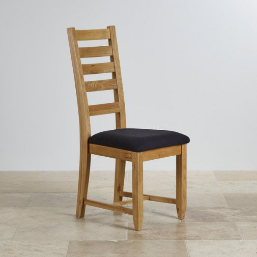 Classic Dining Chair in Natural Solid Oak - Black Fabric Seat