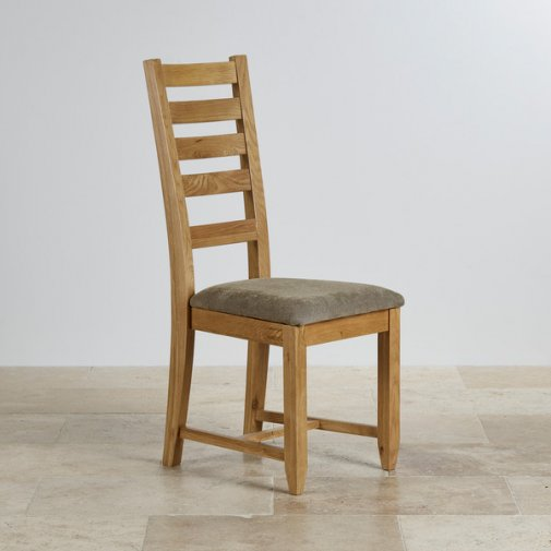 Classic Dining Chair in Natural Solid Oak - Sage Fabric Seat