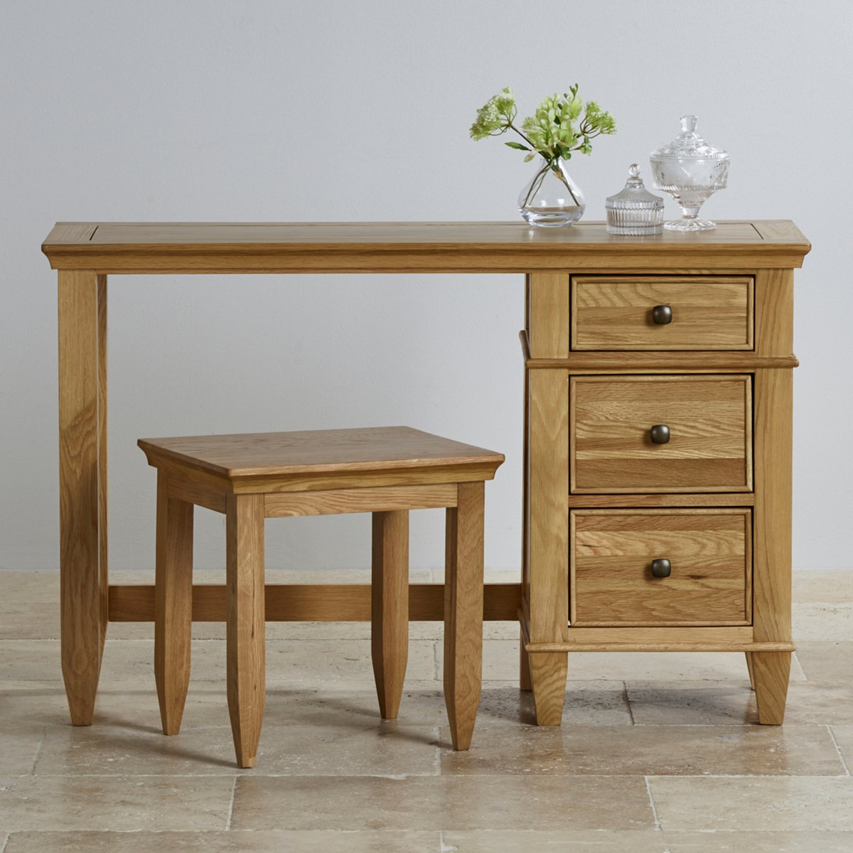 Classic dressing table stool in solid oak furniture land