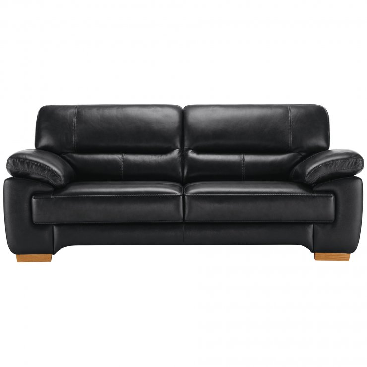 Clayton 3 Seater Sofa in Black Leather