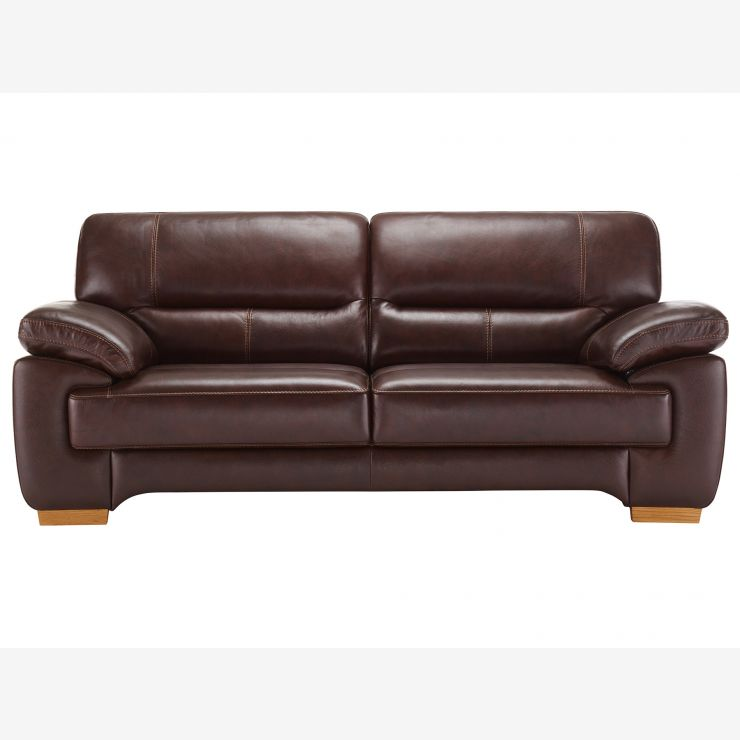 Clayton 3 Seater Sofa In Brown Leather   Image 4
