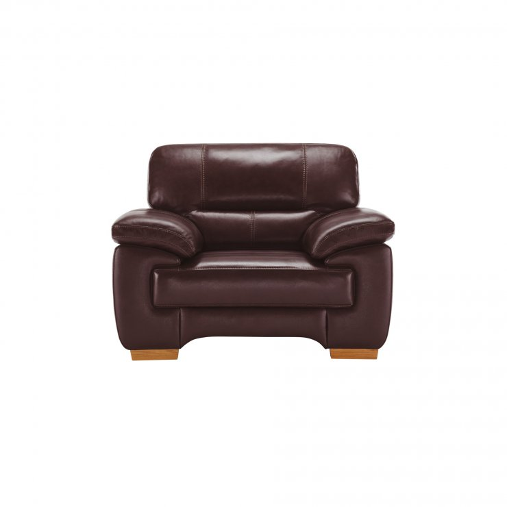 Clayton Armchair in Burgundy Leather