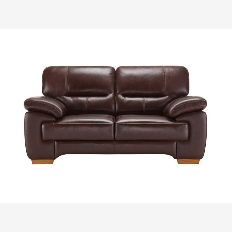 Clayton 2 Seater Sofa In Brown Leather   Image 1 Express Delivery