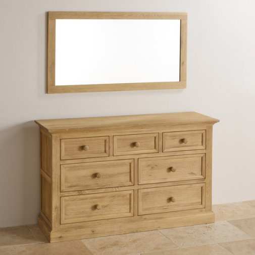 Coastal French-Washed Solid Oak 1100mm x 560mm Wall Mirror