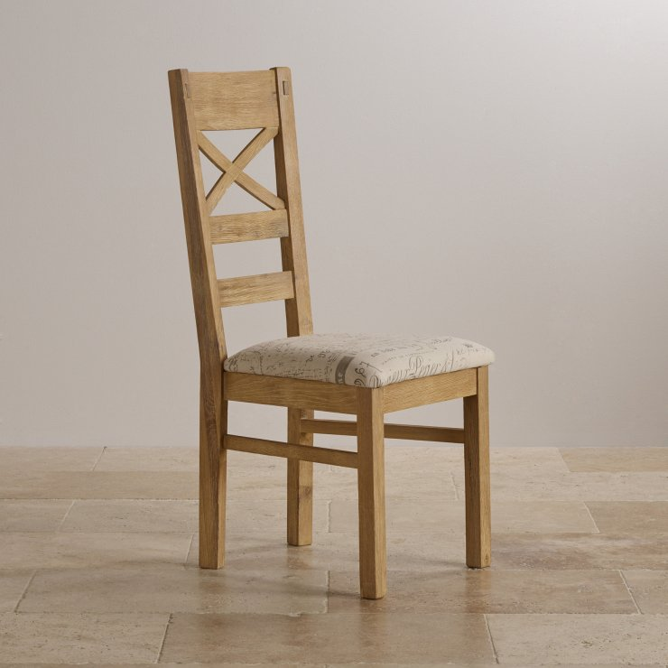 Coastal French-Washed Solid Oak and Scripted Beige Fabric Dining Chair