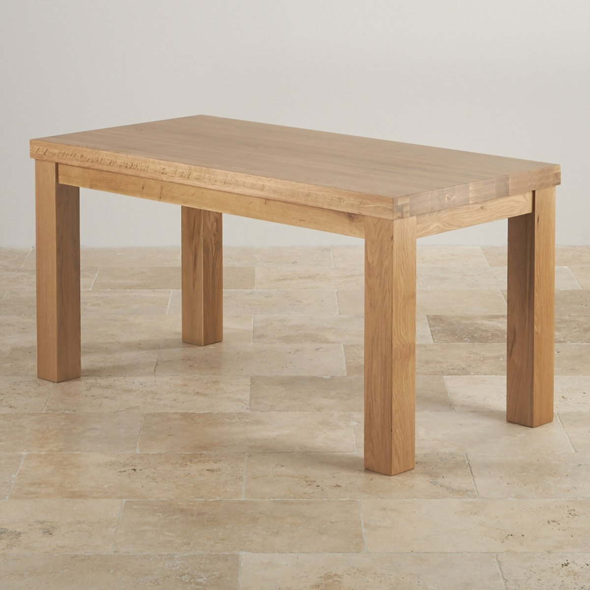 Contemporary chunky 5ft dining table in natural solid oak for Solid oak dining table