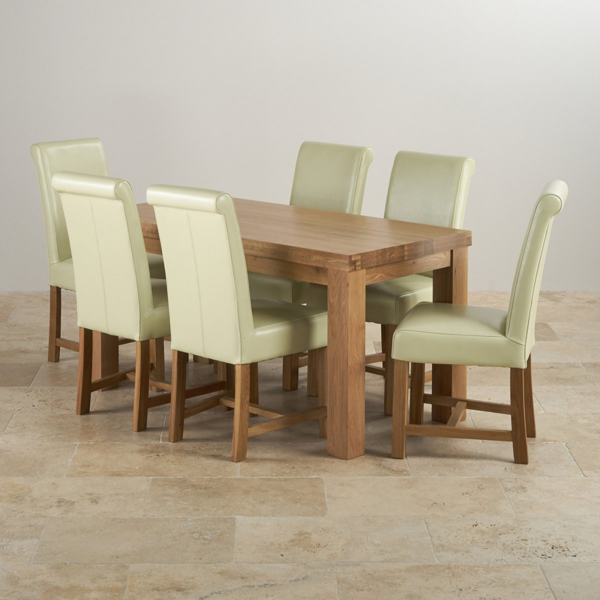 Contemporary Dining Set In Oak: Table + 6 Cream Leather Chairs