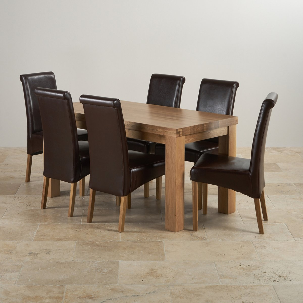 Contemporary Chunky Natural Solid Oak Dining Set Table Scroll Brown Leather Chairs Hand Room Sets Sale