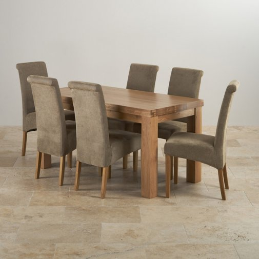 Contemporary Chunky Natural Solid Oak Dining Set - 5ft Table with 6 Scroll Back Sage Fabric Chairs