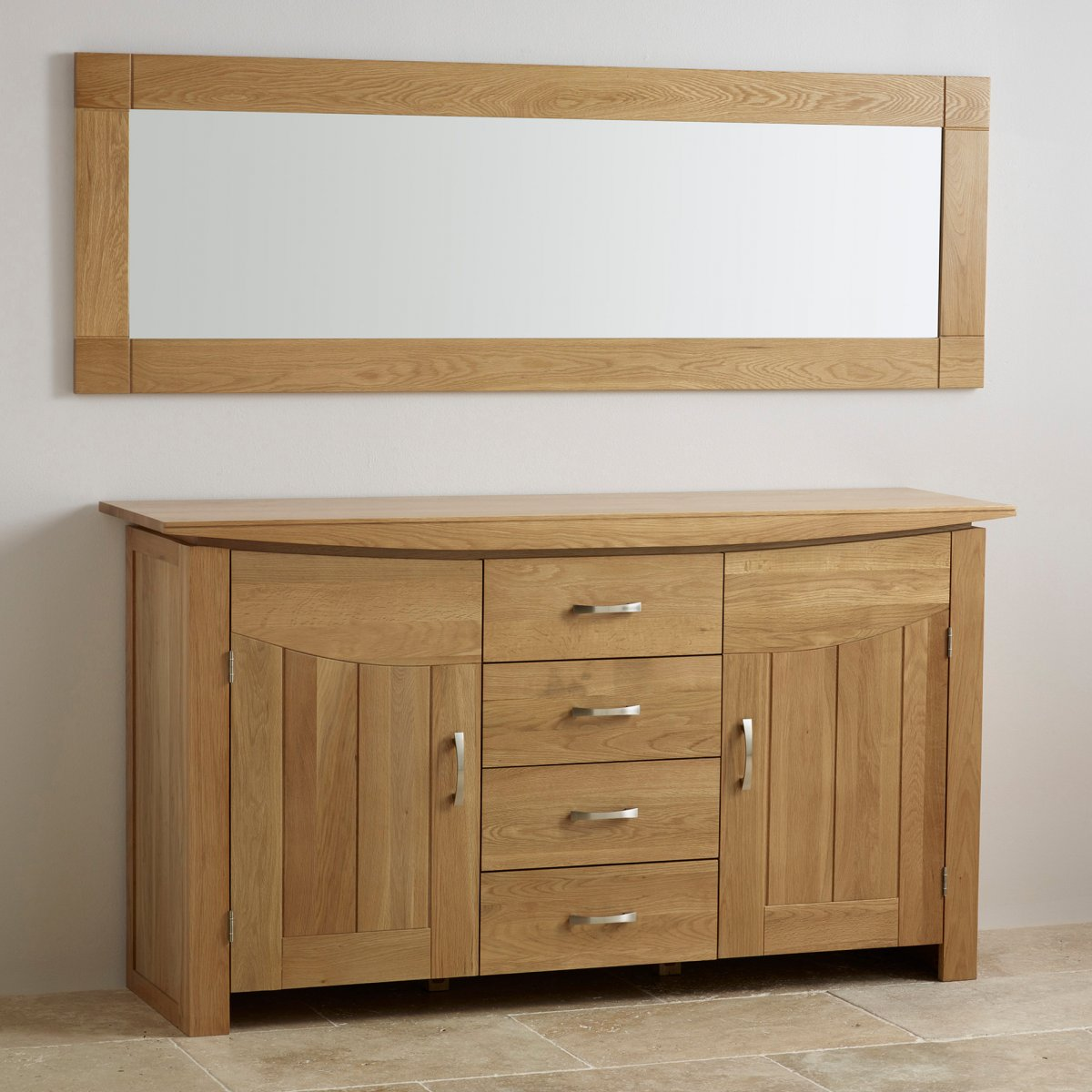 Contemporary natural solid oak wall mirror 1800mm x 600mm for Oak furniture land