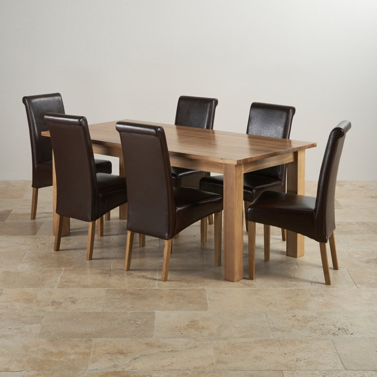 Contemporary Natural Solid Oak Dining Set - 6ft Table with 6 Scroll Back Brown Leather Chairs