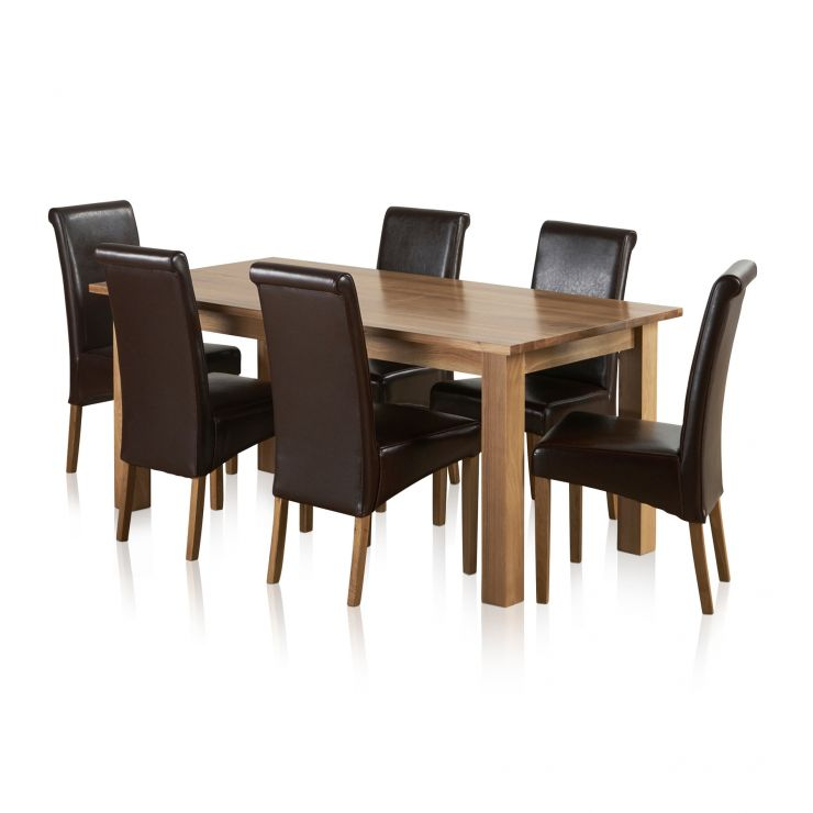 6ft Table With 6 Chairs: Contemporary Dining Set In Natural Oak