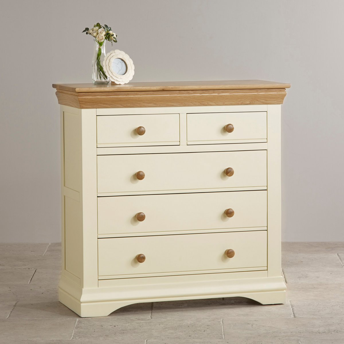 Country Cottage Painted 3+2 Chest Of Drawers In Natural Oak